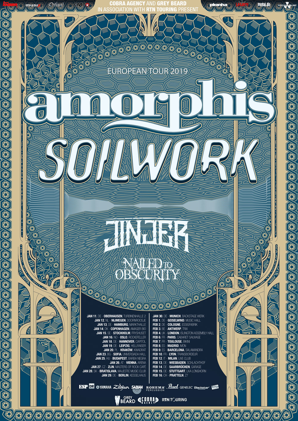 AMORPHIS, SOULWORK, JINJER, NAILED TO OBSCURITY